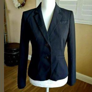 Calvin Klein Black Blazer Size 14P 2-Button Lined